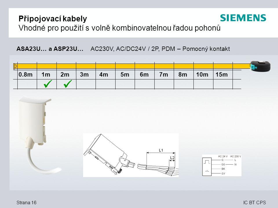 IC BT CPS Strana 16 0.8m 1m 2m 3m 4m 5m 6m 7m 8m 10m 15m Připojovací kabely Vhodné pro použití s volně kombinovatelnou řadou pohonů ASA23U… a ASP23U…