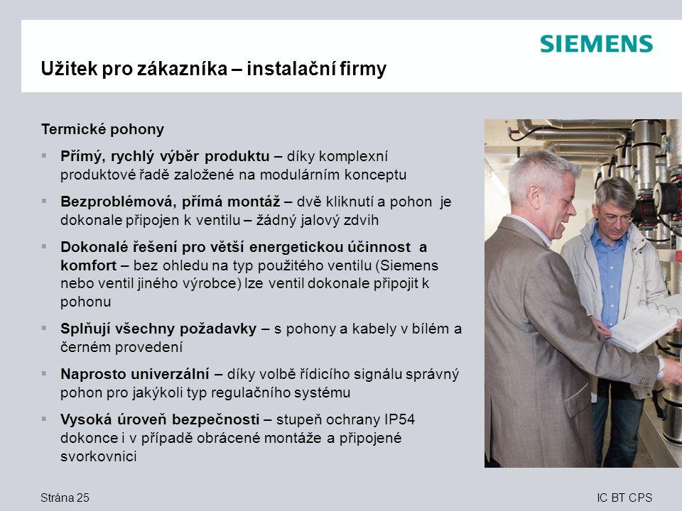 IC BT CPS Strána 25 Užitek pro zákazníka – instalační firmy Termické pohony  Přímý, rychlý výběr produktu – díky komplexní produktové řadě založené n