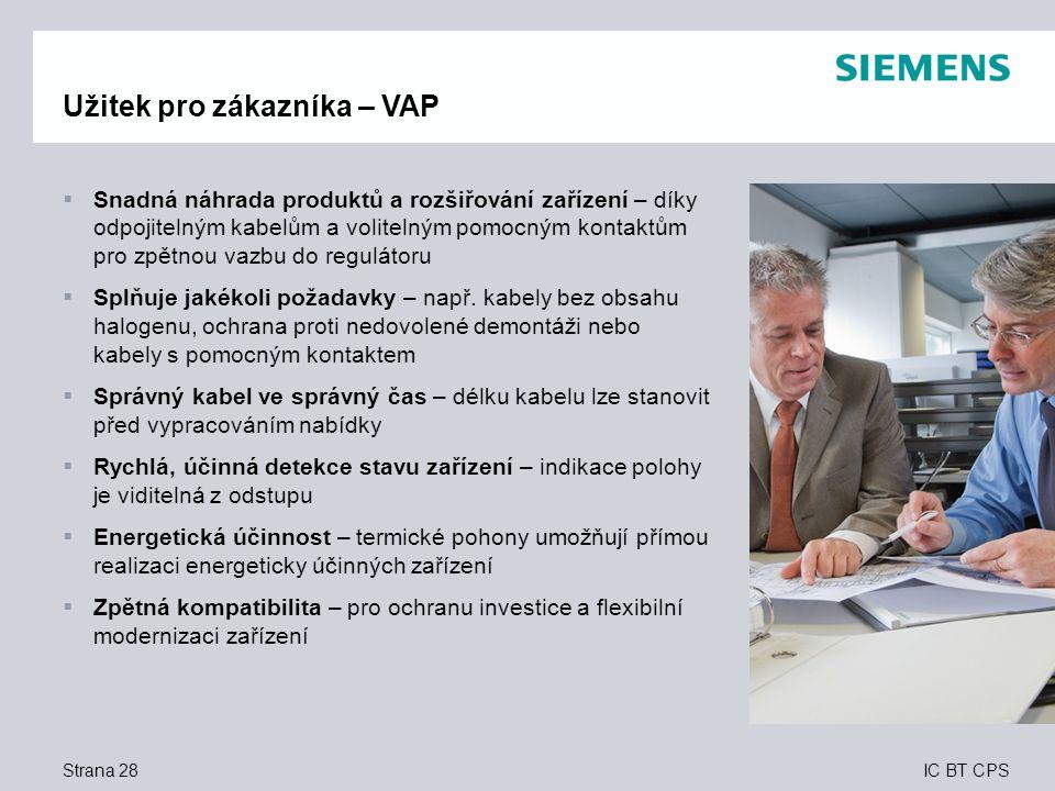 IC BT CPS Strana 28 Užitek pro zákazníka – VAP  Snadná náhrada produktů a rozšiřování zařízení – díky odpojitelným kabelům a volitelným pomocným kont
