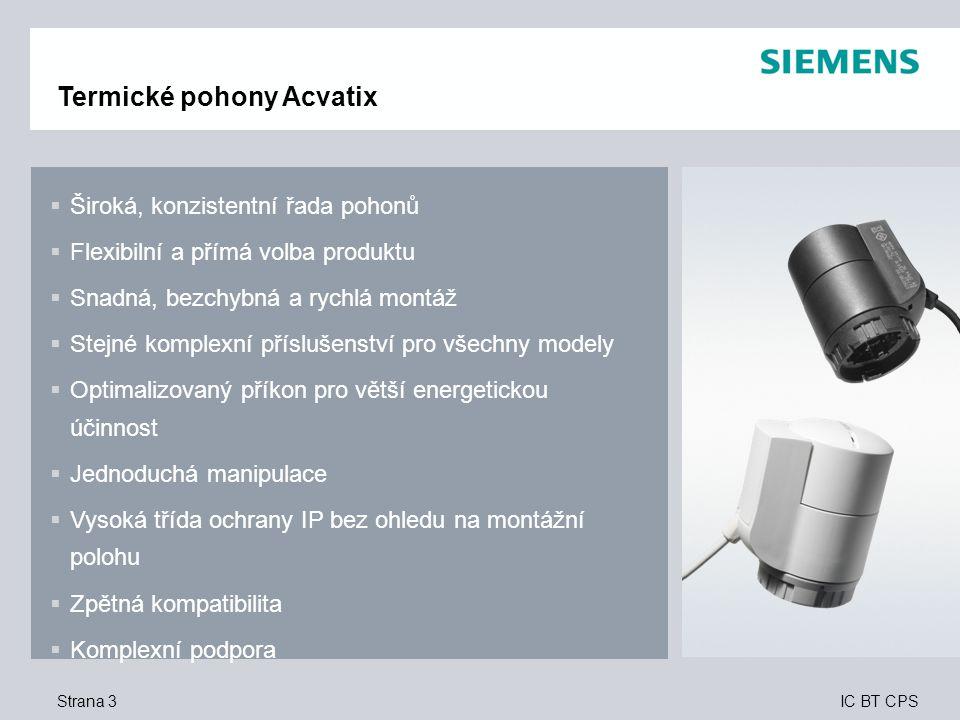 IC BT CPS Strana 4 Termické pohony Acvatix – jednoduše flexibilnější Základní produkty s připojeným kabelem v bílém provedení Řada volně kombinovatelných pohonů a kabelů v bílém nebo černém provedení