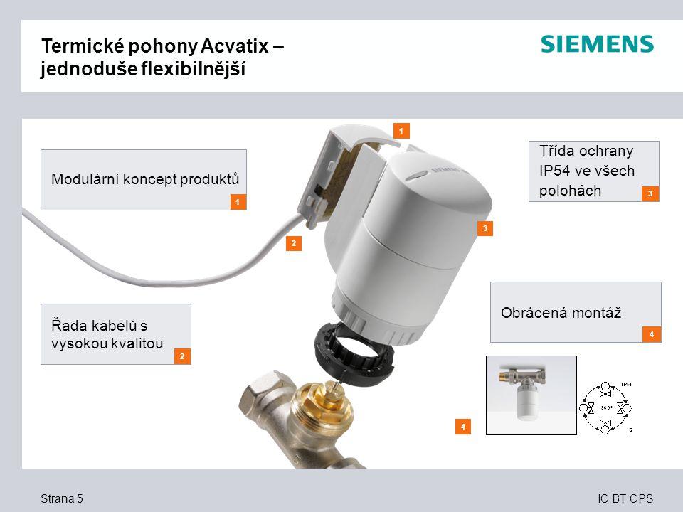 IC BT CPS Strana 5 4 3 2 1 Modulární koncept produktů 1 Řada kabelů s vysokou kvalitou 2 Třída ochrany IP54 ve všech polohách 3 Obrácená montáž 4 Term
