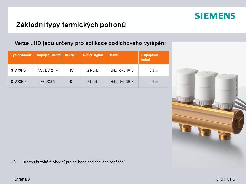 IC BT CPS Strana 29 Užitek pro zákazníka – OEM Termické pohony  Flexibilní výběr produktu a příznivé ceny multibalení – objednávání pohonů v balení po 50 kusech a výběr připojovacích kabelů různých délek  Splňují všechny požadavky – s označenými pohony a kabely v bílém a černém provedení  Bezproblémová, přímá montáž – dvě kliknutí a pohon je dokonale připojen k ventilu – žádný jalový zdvih  Dokonalé řešení pro větší energetickou účinnost a komfort – bez ohledu na typ použitého ventilu (Siemens nebo ventil jiného výrobce) lze ventil dokonale připojit k pohonu