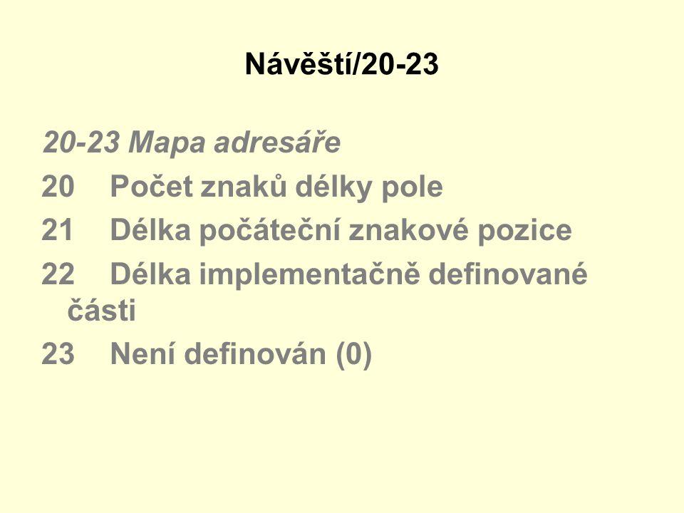 Návěští/20-23 20-23 Mapa adresáře 20 Počet znaků délky pole 21 Délka počáteční znakové pozice 22 Délka implementačně definované části 23 Není definová