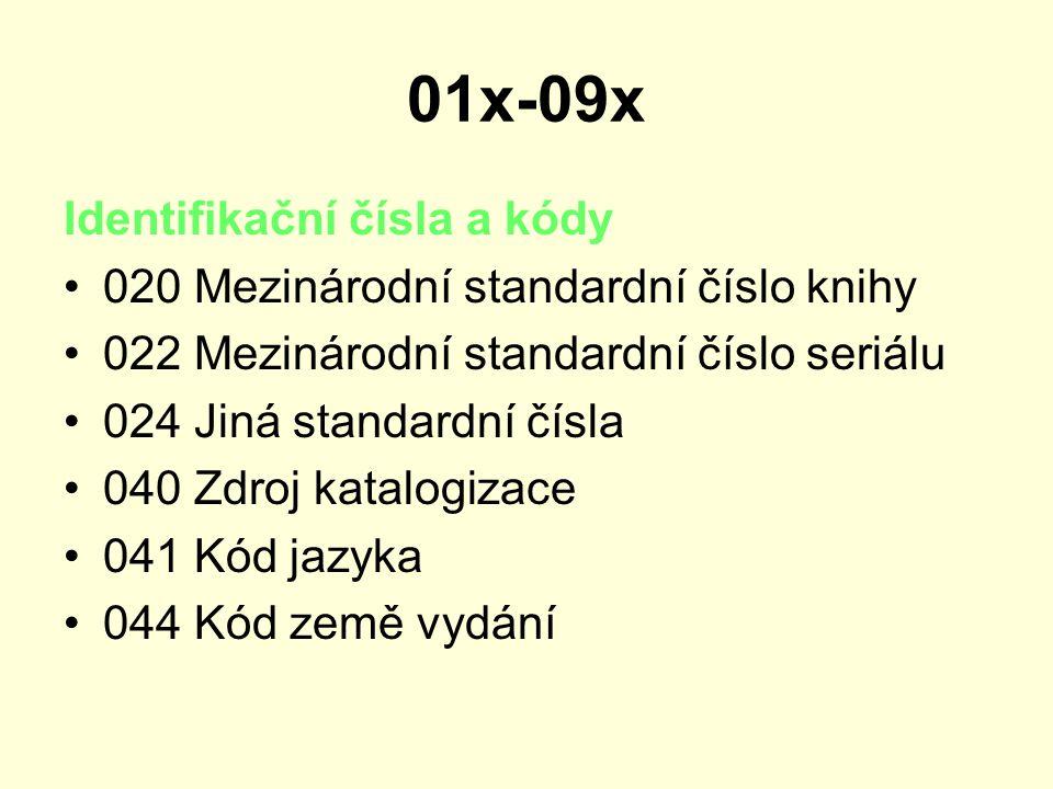 01x-09x Identifikační čísla a kódy 020 Mezinárodní standardní číslo knihy 022 Mezinárodní standardní číslo seriálu 024 Jiná standardní čísla 040 Zdroj