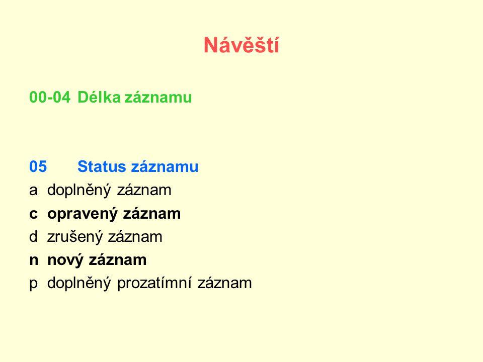 Přílohy: X.Kódy zemí - xr, it, fr, xxk, xxu Y. Kódy jazyků – cze, ita, fre, eng Z.