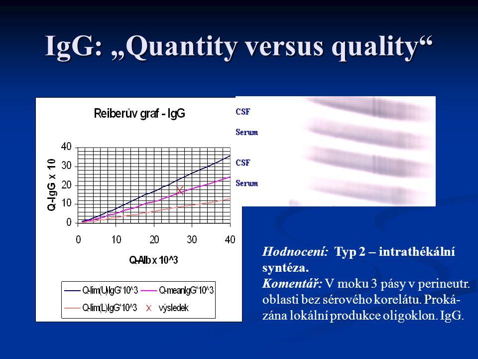 """IgG: """"Quantity versus quality Hodnocení: Typ 2 – intrathékální syntéza."""