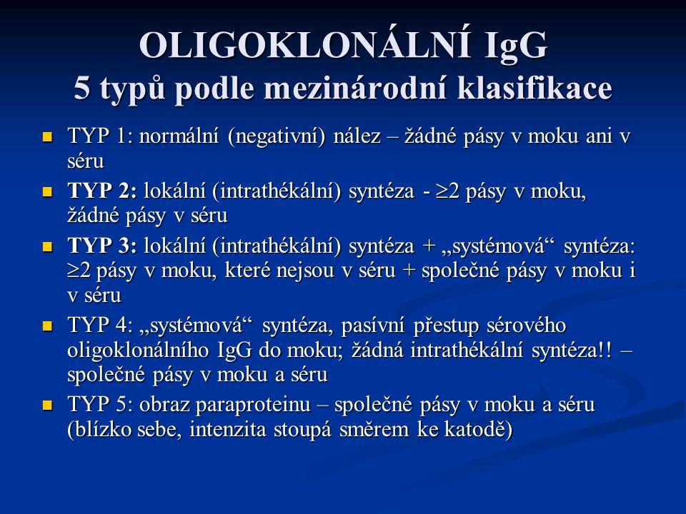 """OLIGOKLONÁLNÍ IgG 5 typů podle mezinárodní klasifikace TYP 1: normální (negativní) nález – žádné pásy v moku ani v séru TYP 1: normální (negativní) nález – žádné pásy v moku ani v séru TYP 2: lokální (intrathékální) syntéza -  2 pásy v moku, žádné pásy v séru TYP 2: lokální (intrathékální) syntéza -  2 pásy v moku, žádné pásy v séru TYP 3: lokální (intrathékální) syntéza + """"systémová syntéza:  2 pásy v moku, které nejsou v séru + společné pásy v moku i v séru TYP 3: lokální (intrathékální) syntéza + """"systémová syntéza:  2 pásy v moku, které nejsou v séru + společné pásy v moku i v séru TYP 4: """"systémová syntéza, pasívní přestup sérového oligoklonálního IgG do moku; žádná intrathékální syntéza!."""
