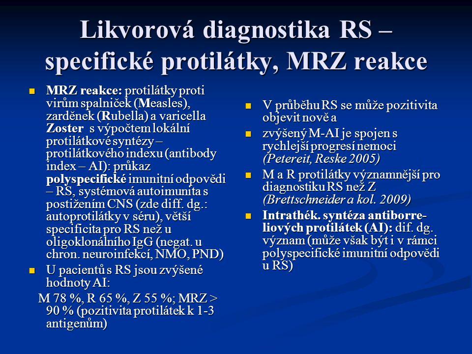 Likvorová diagnostika RS – specifické protilátky, MRZ reakce MRZ reakce: protilátky proti virům spalniček (Measles), zarděnek (Rubella) a varicella Zoster s výpočtem lokální protilátkové syntézy – protilátkového indexu (antibody index – AI): průkaz polyspecifické imunitní odpovědi – RS, systémová autoimunita s postižením CNS (zde diff.