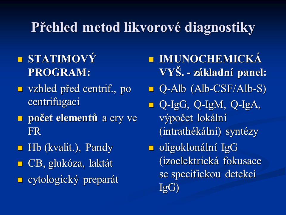 Přehled metod likvorové diagnostiky STATIMOVÝ PROGRAM: STATIMOVÝ PROGRAM: vzhled před centrif., po centrifugaci vzhled před centrif., po centrifugaci počet elementů a ery ve FR počet elementů a ery ve FR Hb (kvalit.), Pandy Hb (kvalit.), Pandy CB, glukóza, laktát CB, glukóza, laktát cytologický preparát cytologický preparát IMUNOCHEMICKÁ VYŠ.
