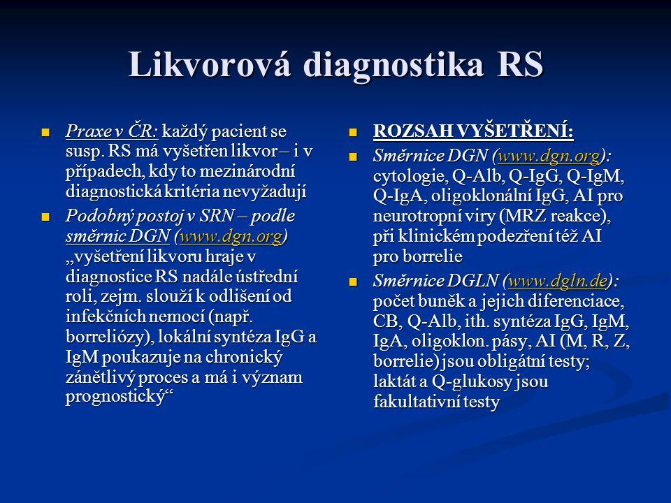Likvorová diagnostika RS Praxe v ČR: každý pacient se susp.