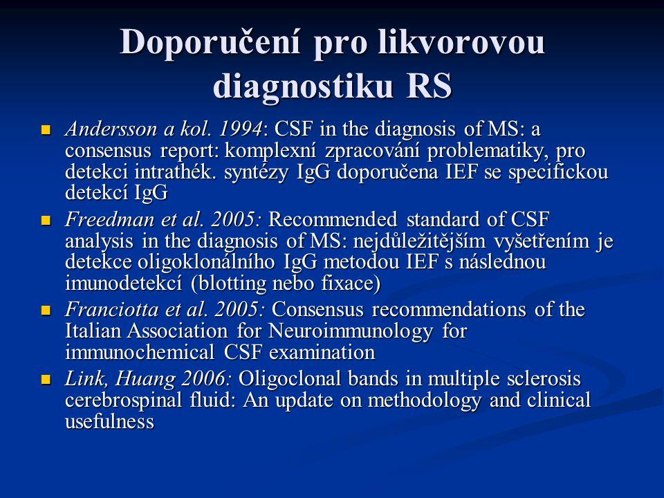 Doporučení pro likvorovou diagnostiku RS Andersson a kol.