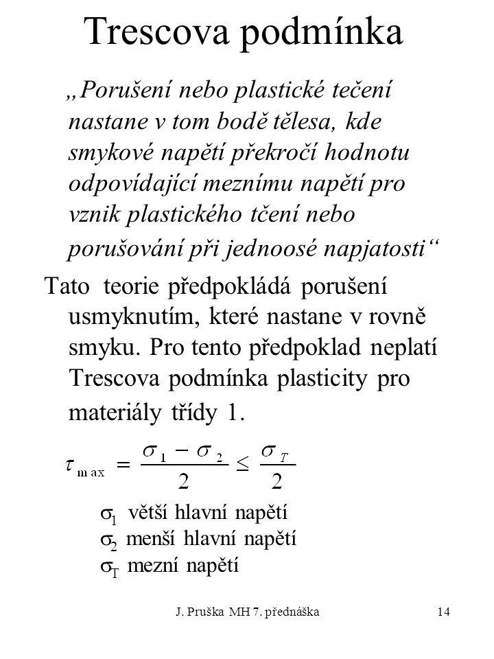 """J. Pruška MH 7. přednáška14 Trescova podmínka """"Porušení nebo plastické tečení nastane v tom bodě tělesa, kde smykové napětí překročí hodnotu odpovídaj"""
