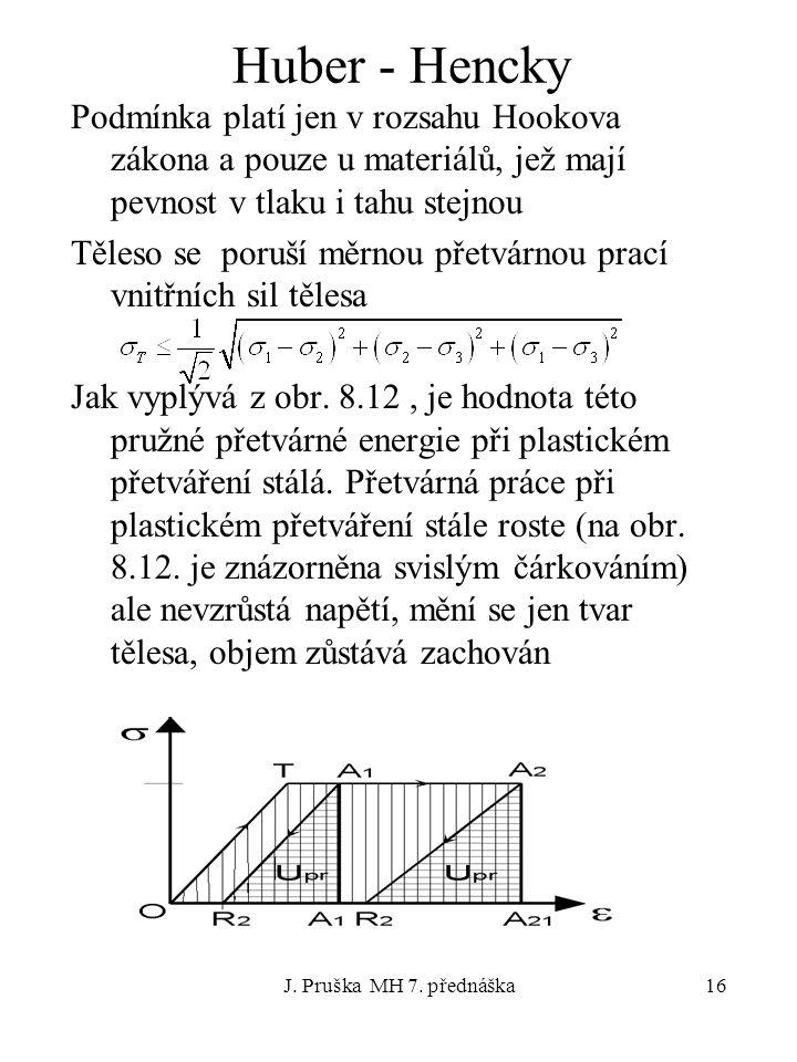 J. Pruška MH 7. přednáška16 Huber - Hencky Podmínka platí jen v rozsahu Hookova zákona a pouze u materiálů, jež mají pevnost v tlaku i tahu stejnou Tě