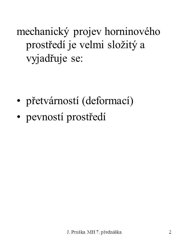 J. Pruška MH 7. přednáška3 Typy průběhů deformací hornin