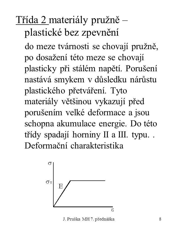 J. Pruška MH 7. přednáška8 Třída 2 materiály pružně – plastické bez zpevnění do meze tvárnosti se chovají pružně, po dosažení této meze se chovají pla