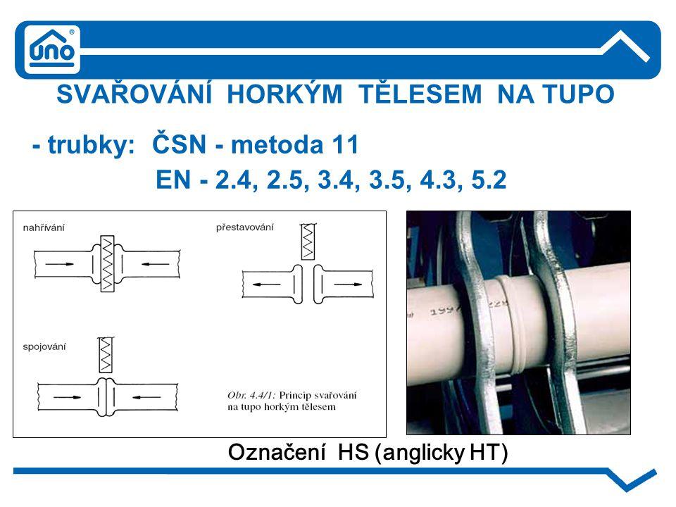 SVAŘOVÁNÍ HORKÝM TĚLESEM NA TUPO - trubky: ČSN - metoda 11 EN - 2.4, 2.5, 3.4, 3.5, 4.3, 5.2 Označení HS (anglicky HT)