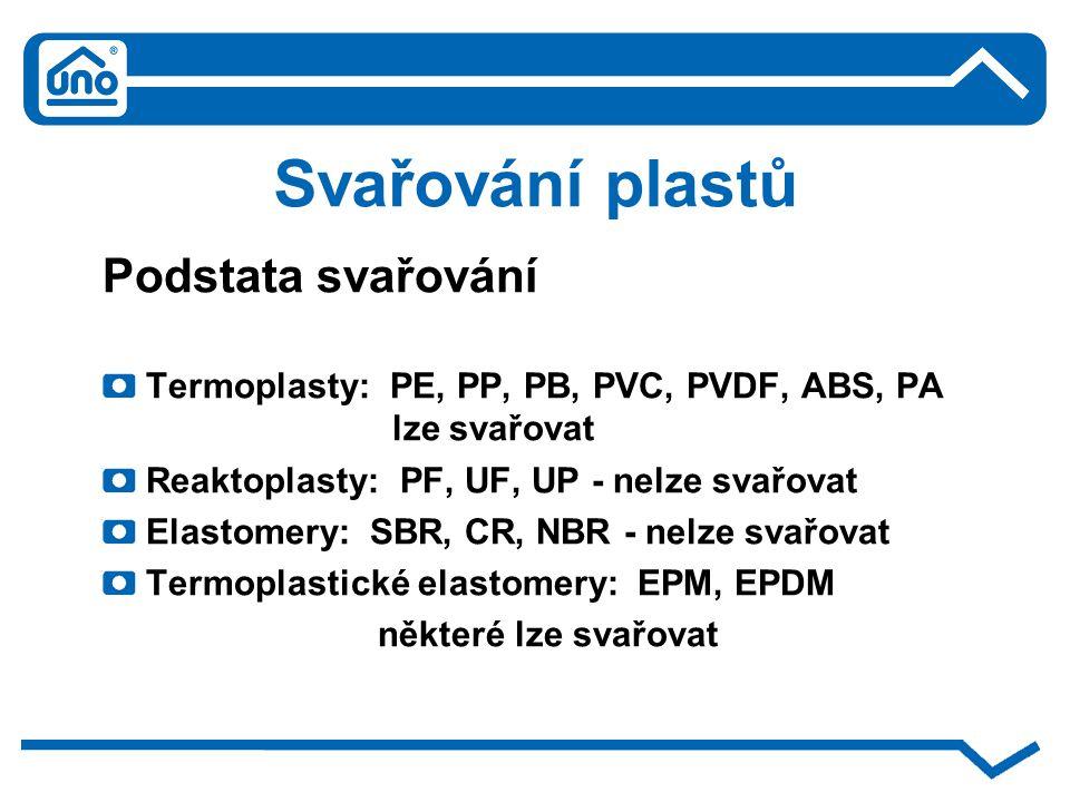 Svařování plastů Podstata svařování Termoplasty: PE, PP, PB, PVC, PVDF, ABS, PA lze svařovat Reaktoplasty: PF, UF, UP - nelze svařovat Elastomery: SBR