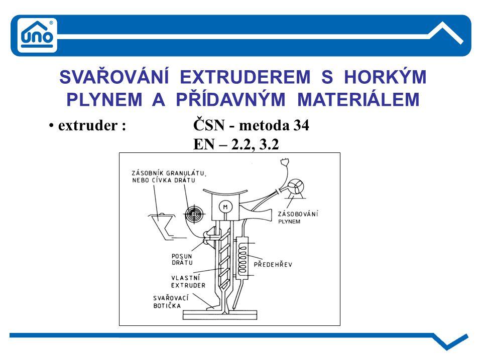 SVAŘOVÁNÍ EXTRUDEREM S HORKÝM PLYNEM A PŘÍDAVNÝM MATERIÁLEM extruder : ČSN - metoda 34 EN – 2.2, 3.2