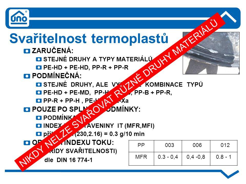 Svařitelnost termoplastů ZARUČENÁ: STEJNÉ DRUHY A TYPY MATERIÁLŮ PE-HD + PE-HD, PP-R + PP-R PODMÍNEČNÁ: STEJNÉ DRUHY, ALE VYBRANÉ KOMBINACE TYPŮ PE-HD