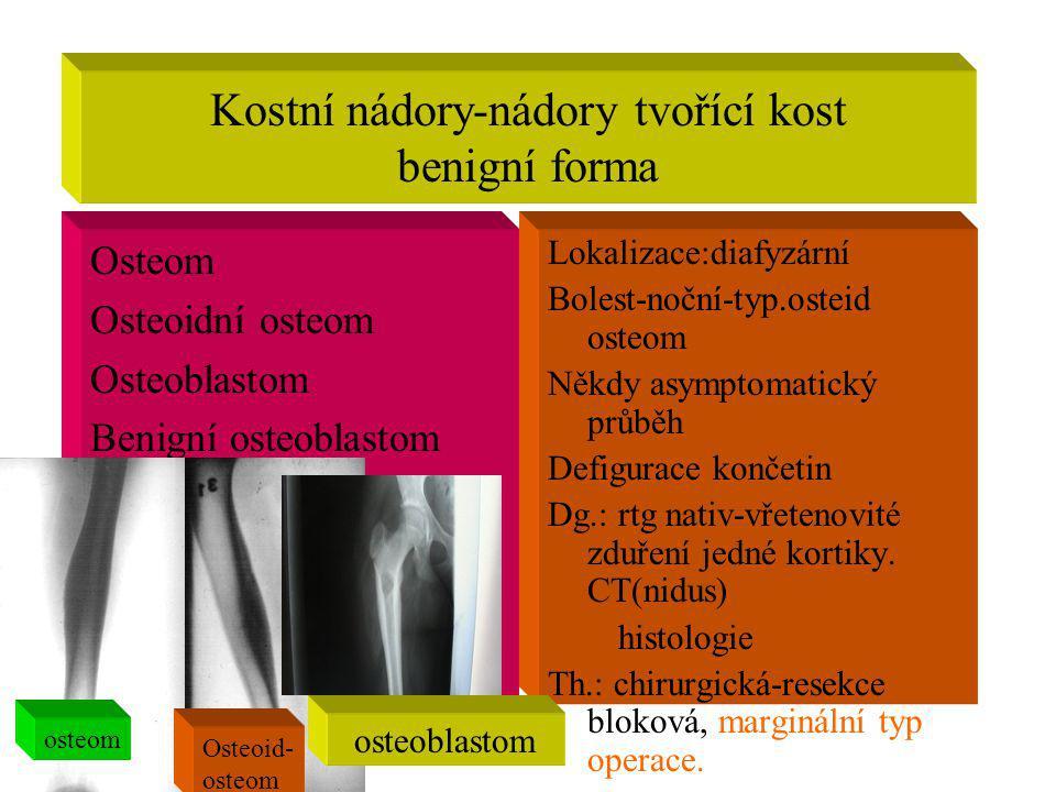 Kostní nádory-nádory tvořící kost benigní forma Osteom Osteoidní osteom Osteoblastom Benigní osteoblastom Lokalizace:diafyzární Bolest-noční-typ.ostei