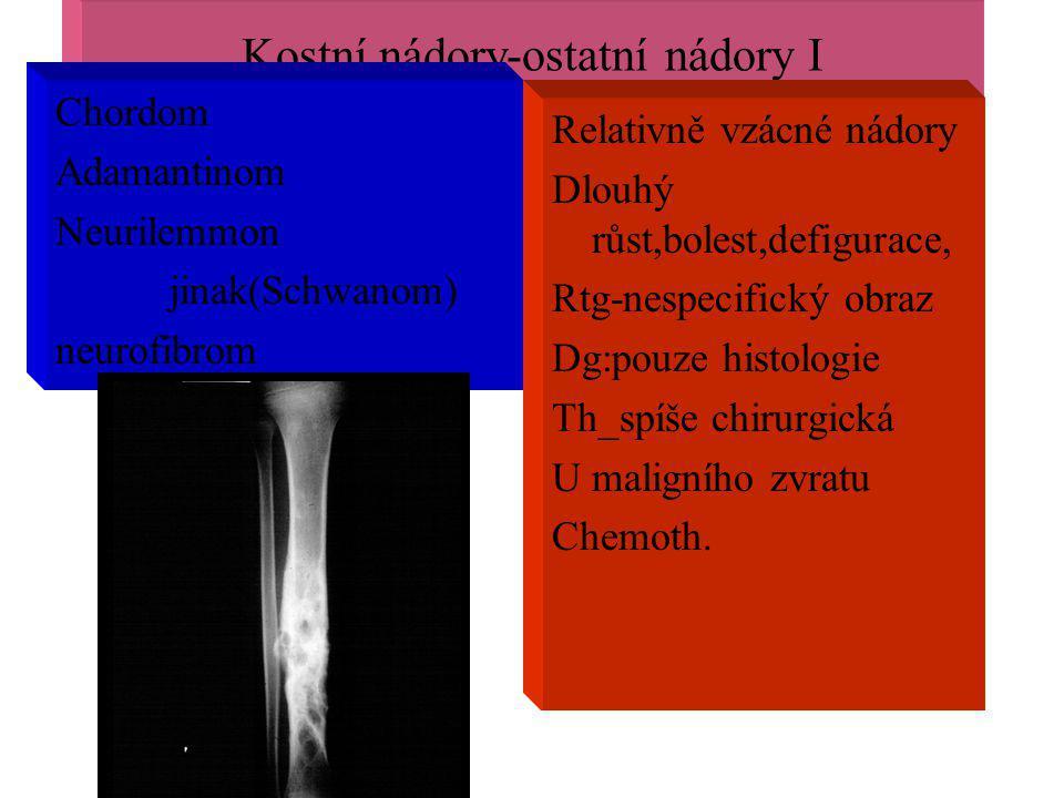 Kostní nádory-ostatní nádory I Chordom Adamantinom Neurilemmon jinak(Schwanom) neurofibrom Relativně vzácné nádory Dlouhý růst,bolest,defigurace, Rtg-