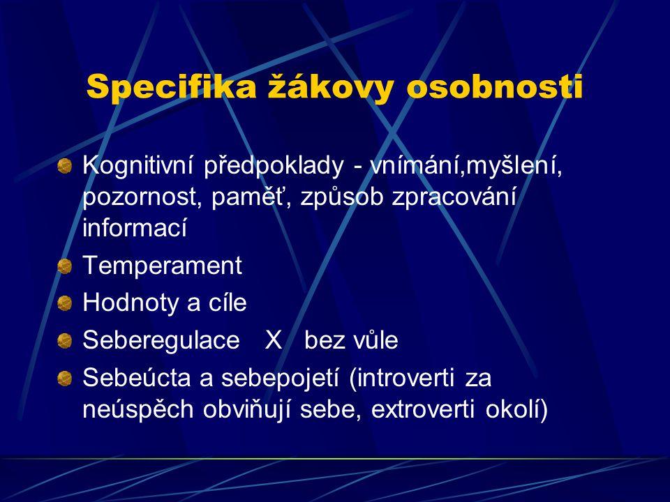 Specifika žákovy osobnosti Kognitivní předpoklady - vnímání,myšlení, pozornost, paměť, způsob zpracování informací Temperament Hodnoty a cíle Seberegu