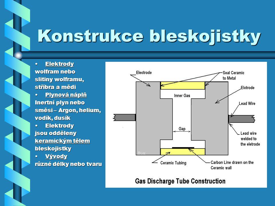 Konstrukce bleskojistky ElektrodyElektrody wolfram nebo slitiny wolframu, stříbra a mědi Plynová náplňPlynová náplň Inertní plyn nebo směsi – Argon, helium, vodík, dusík ElektrodyElektrody jsou odděleny keramickým tělem bleskojistky VývodyVývody různé délky nebo tvaru