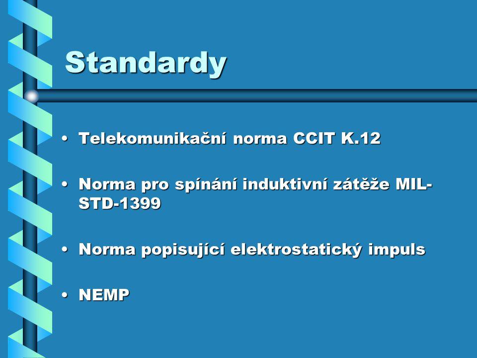Standardy Telekomunikační norma CCIT K.12Telekomunikační norma CCIT K.12 Norma pro spínání induktivní zátěže MIL- STD-1399Norma pro spínání induktivní zátěže MIL- STD-1399 Norma popisující elektrostatický impulsNorma popisující elektrostatický impuls NEMPNEMP