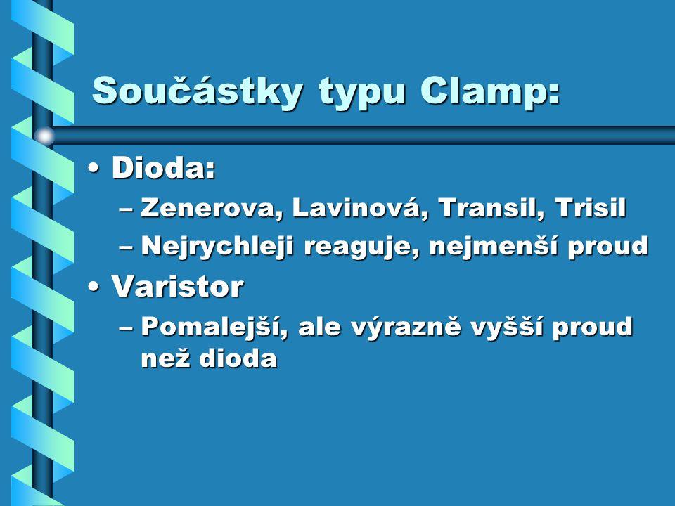 Součástky typu Clamp: Dioda:Dioda: –Zenerova, Lavinová, Transil, Trisil –Nejrychleji reaguje, nejmenší proud VaristorVaristor –Pomalejší, ale výrazně vyšší proud než dioda