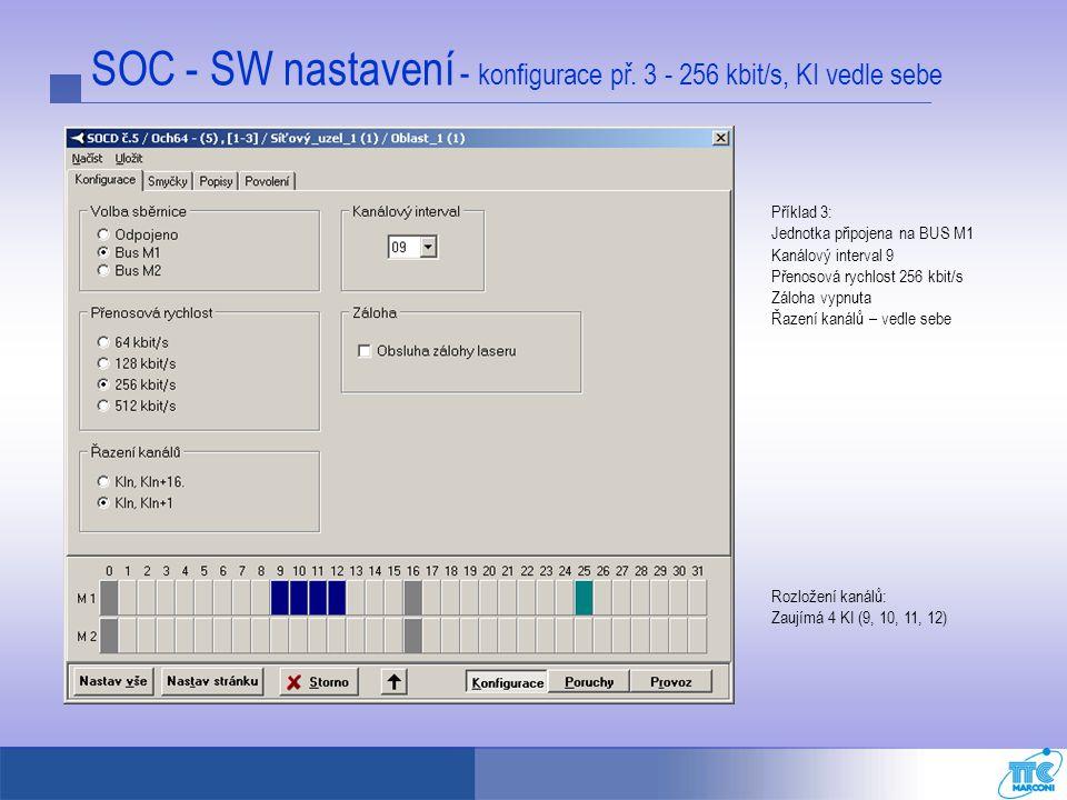 SOC - SW nastavení - konfigurace př. 3 - 256 kbit/s, KI vedle sebe Příklad 3: Jednotka připojena na BUS M1 Kanálový interval 9 Přenosová rychlost 256