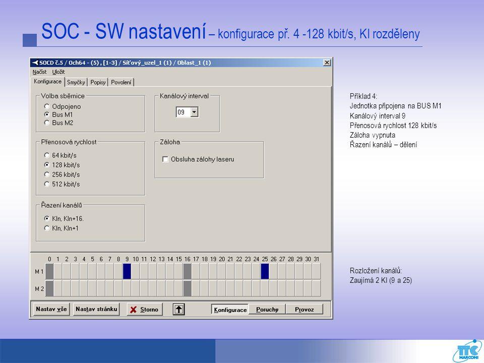 SOC - SW nastavení – konfigurace př. 4 -128 kbit/s, KI rozděleny Příklad 4: Jednotka připojena na BUS M1 Kanálový interval 9 Přenosová rychlost 128 kb