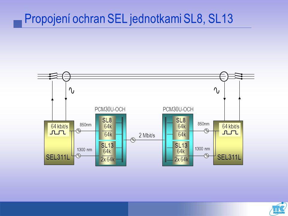PCM30U-OCH 2 Mbit/s 64 kbit/s SEL311L 64k SL8 64k 2x 64k SL13 850nm 1300 nm 64k SL8 64k 2x 64k SL13 64 kbit/s SEL311L 850nm 1300 nm Propojení ochran S