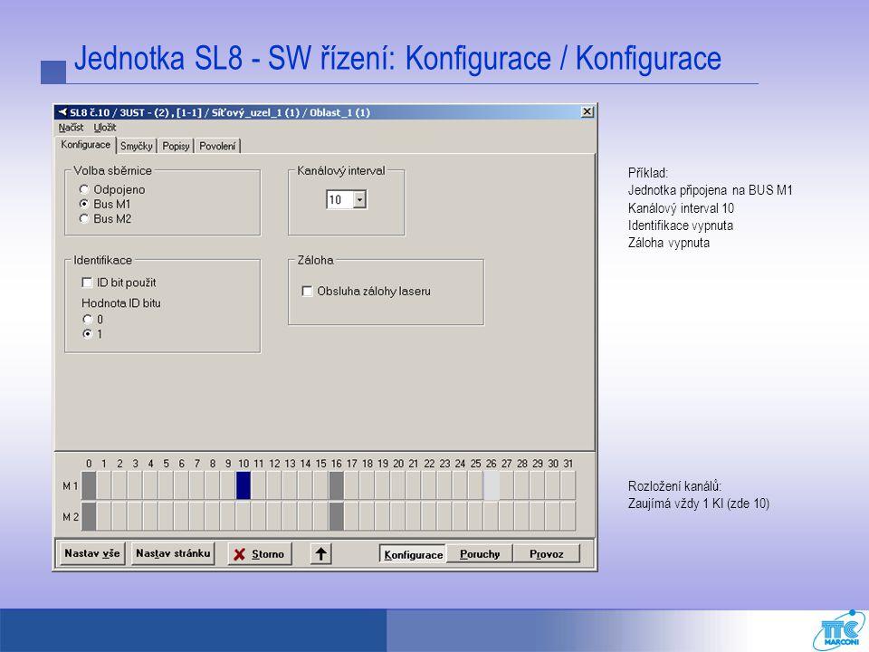 Jednotka SL8 - SW řízení: Konfigurace / Konfigurace Příklad: Jednotka připojena na BUS M1 Kanálový interval 10 Identifikace vypnuta Záloha vypnuta Roz
