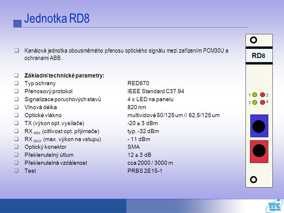 Jednotka RD8  Kanálová jednotka obousměrného přenosu optického signálu mezi zařízením PCM30U a ochranami ABB.  Základní technické parametry:  Typ o