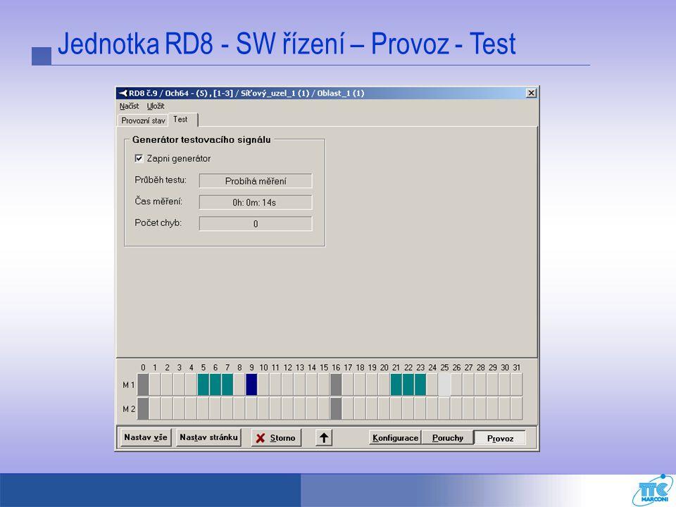 Jednotka RD8 - SW řízení – Provoz - Test