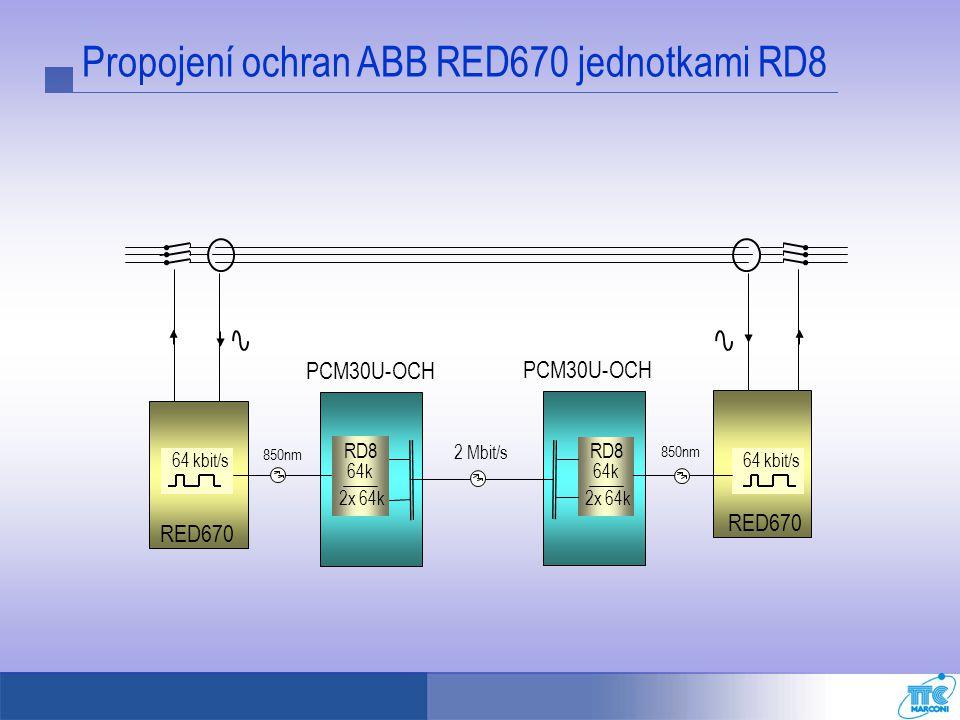Propojení ochran ABB RED670 jednotkami RD8 PCM30U-OCH 2 Mbit/s 64 kbit/s RED670 64k 2x 64k RD8 850nm 64k 2x 64k RD8 64 kbit/s RED670 850nm PCM30U-OCH