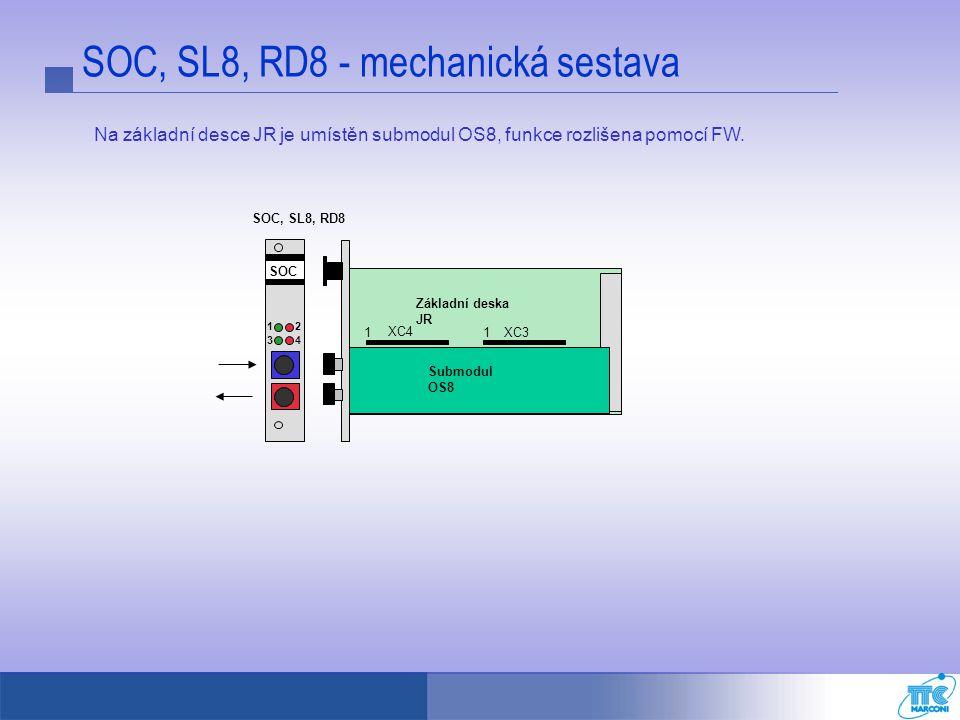 SOC, SL8, RD8 - mechanická sestava Submodul OS8 Základní deska JR XC4 XC311 SOC 12 34 SOC, SL8, RD8 Na základní desce JR je umístěn submodul OS8, funk