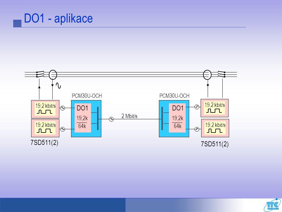 DO1 - aplikace PCM30U-OCH 19,2 kbit/s 19,2k 64k PCM30U-OCH 19,2 kbit/s 2 Mbit/s DO1 19,2k 64k DO1 7SD511(2) 19,2 kbit/s 7SD511(2)