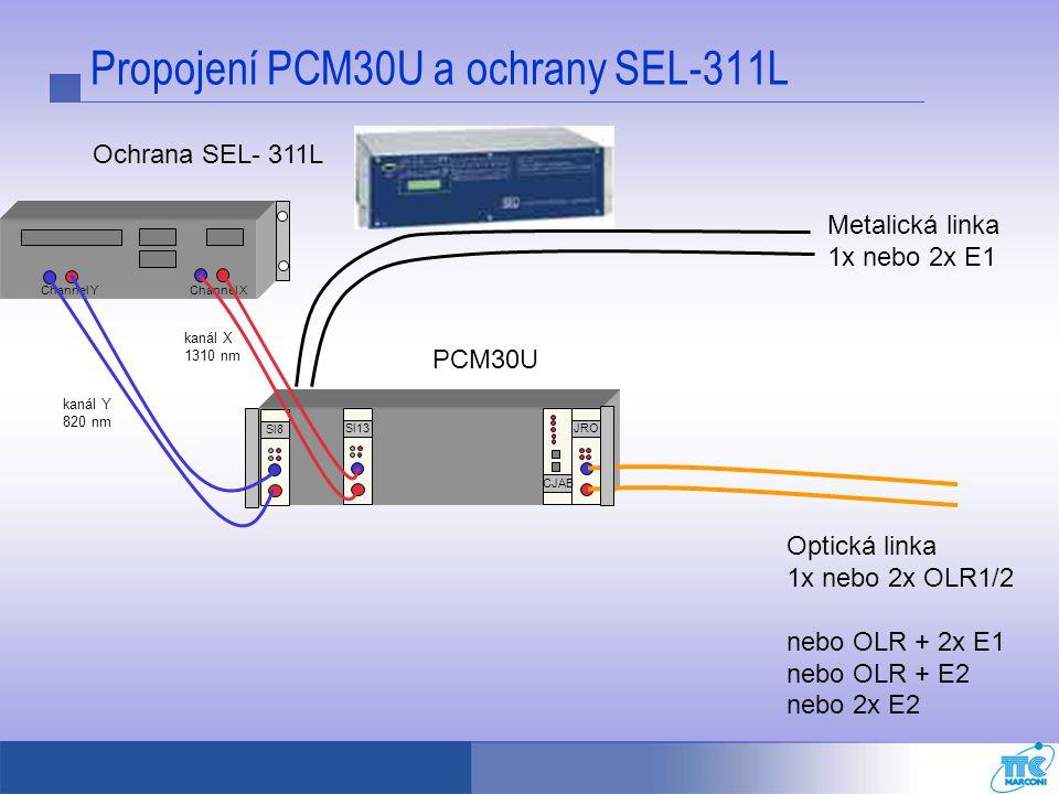 Propojení PCM30U a ochrany SEL-311L Metalická linka 1x nebo 2x E1 Sl13JRO CJAB Ochrana SEL- 311L PCM30U Optická linka 1x nebo 2x OLR1/2 nebo OLR + 2x