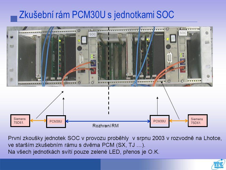 Zkušební rám PCM30U s jednotkami SOC První zkoušky jednotek SOC v provozu proběhly v srpnu 2003 v rozvodně na Lhotce, ve starším zkušebním rámu s dvěm