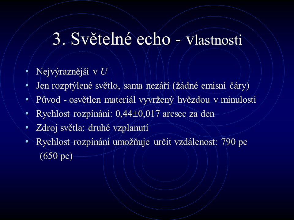 3. Světelné echo - v lastnosti Nejvýraznější v U Nejvýraznější v U Jen rozptýlené světlo, sama nezáří (žádné emisní čáry) Jen rozptýlené světlo, sama