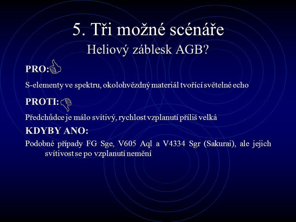 5. Tři možné scénáře Heliový záblesk AGB? PRO: S-elementy ve spektru, okolohvězdný materiál tvořící světelné echo PROTI: Předchůdce je málo svítivý, r