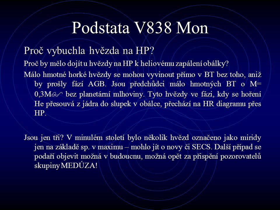 Podstata V838 Mon Proč vybuchla hvězda na HP? Proč by mělo dojít u hvězdy na HP k heliovému zapálení obálky? Málo hmotné horké hvězdy se mohou vyvinou