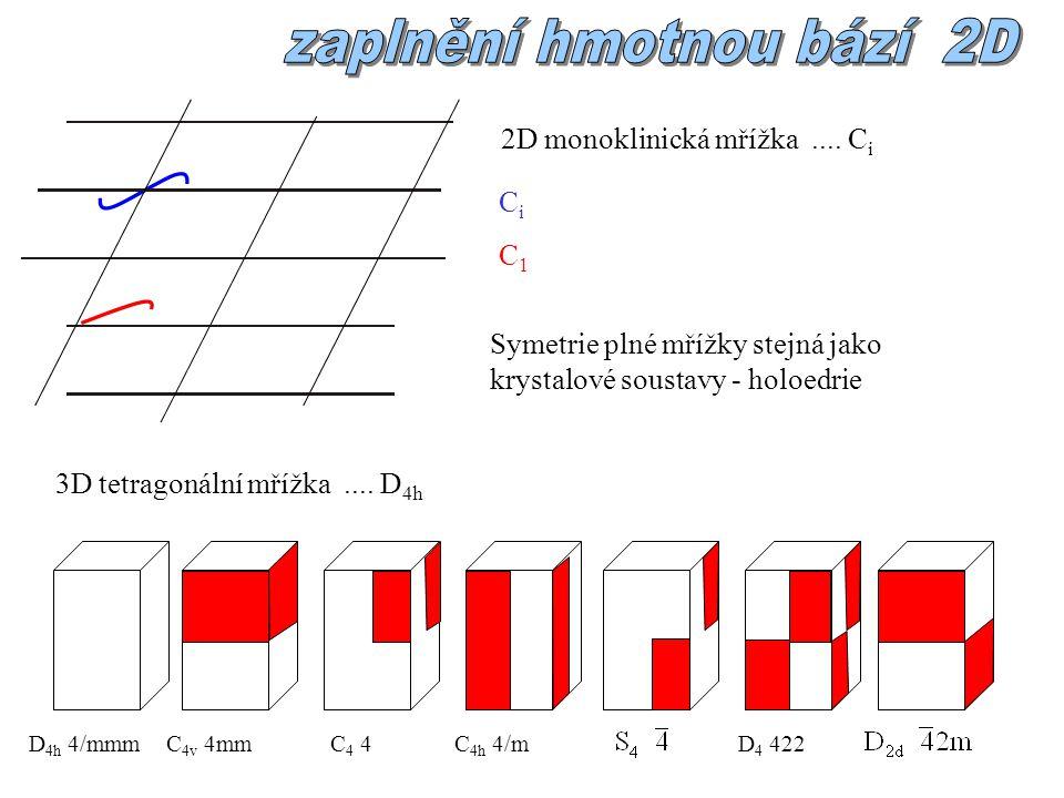 Symetrie plné mřížky stejná jako krystalové soustavy - holoedrie 2D monoklinická mřížka....