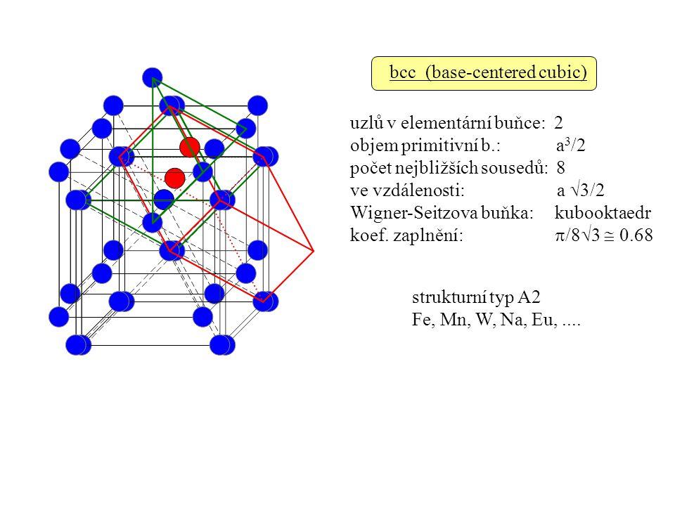 bcc (base-centered cubic) strukturní typ A2 Fe, Mn, W, Na, Eu,....