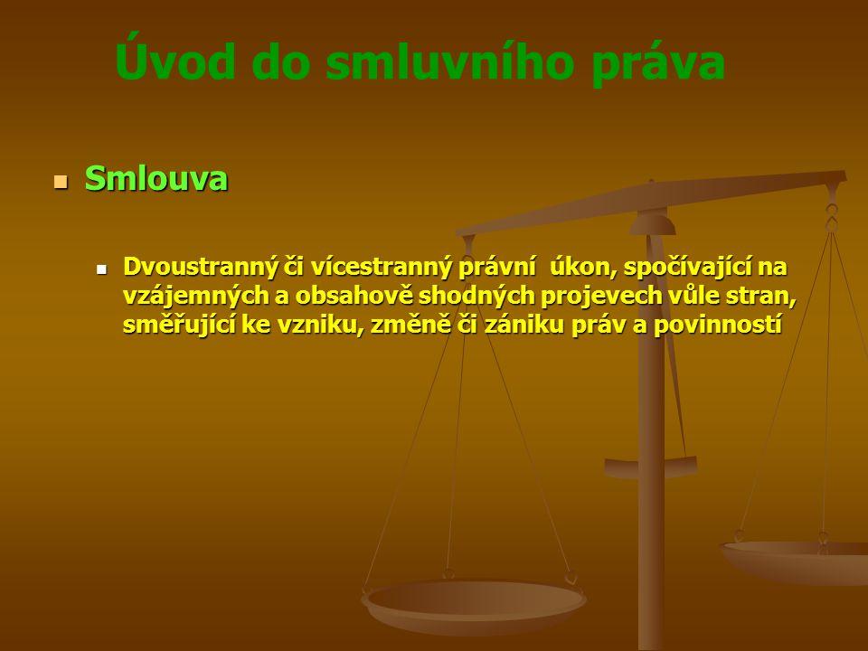 Úvod do smluvního práva Smlouva Smlouva Dvoustranný či vícestranný právní úkon, spočívající na vzájemných a obsahově shodných projevech vůle stran, směřující ke vzniku, změně či zániku práv a povinností Dvoustranný či vícestranný právní úkon, spočívající na vzájemných a obsahově shodných projevech vůle stran, směřující ke vzniku, změně či zániku práv a povinností