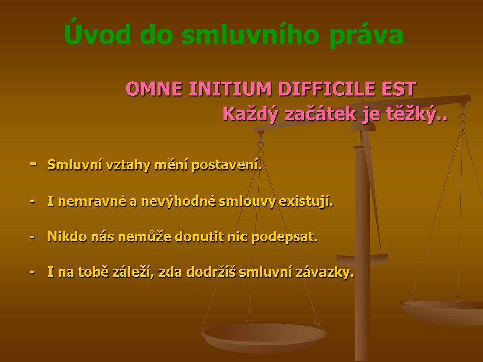 Úvod do smluvního práva OMNE INITIUM DIFFICILE EST Každý začátek je těžký..