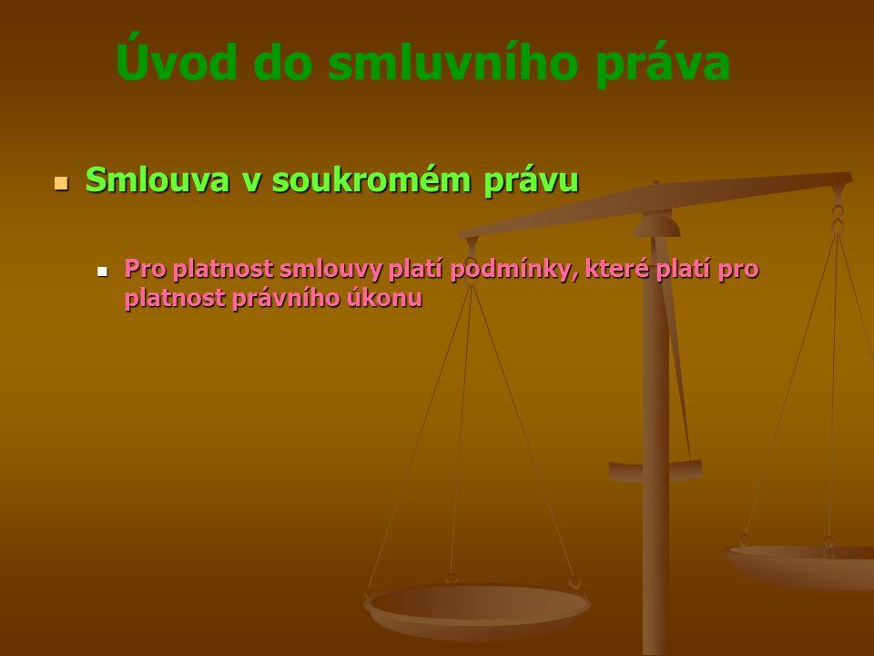 Úvod do smluvního práva Smlouva v soukromém právu Smlouva v soukromém právu Pro platnost smlouvy platí podmínky, které platí pro platnost právního úkonu Pro platnost smlouvy platí podmínky, které platí pro platnost právního úkonu