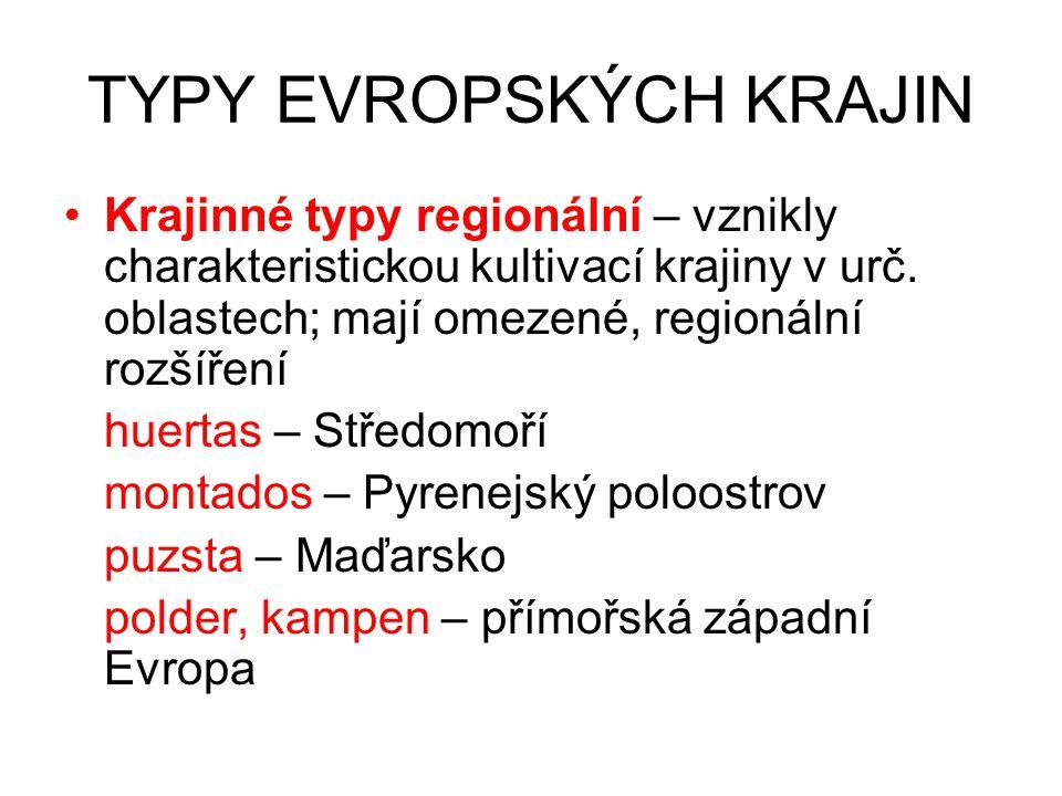 TYPY EVROPSKÝCH KRAJIN Krajinné typy regionální – vznikly charakteristickou kultivací krajiny v urč. oblastech; mají omezené, regionální rozšíření hue