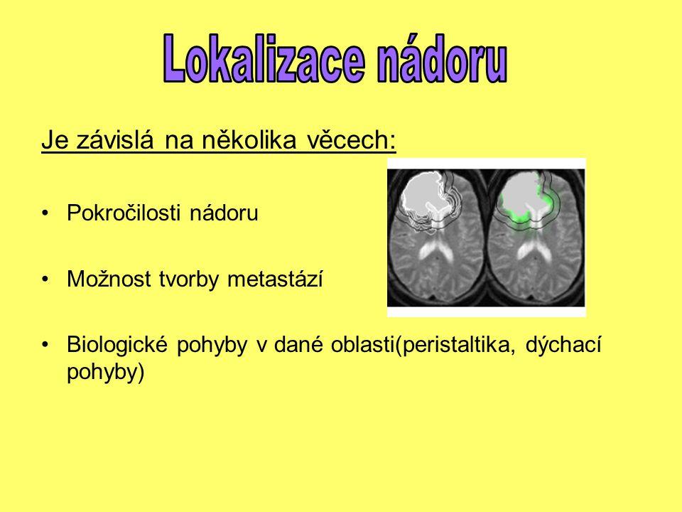 Je závislá na několika věcech: Pokročilosti nádoru Možnost tvorby metastází Biologické pohyby v dané oblasti(peristaltika, dýchací pohyby)